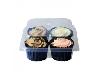 4 Cupcake Tray With Hinged Lid