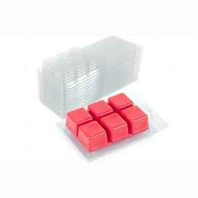 Plastic 6-cavity wax melts clamshell