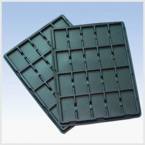 Black plastic electronic tray