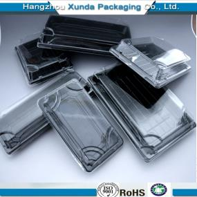 Plastic disposable sushi box with lid PP/PET/PS