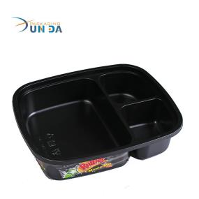 Rectangular Black Color Printing Plastic Restaurant Food Container With 3 Compartments