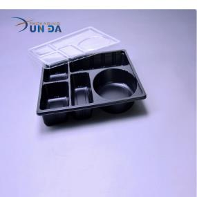 Newest Design Plastic Black PP Microwavable Fast Food divided Box